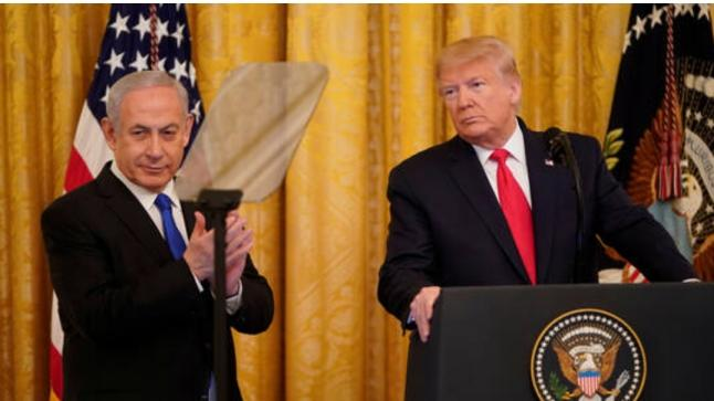 """ترامب ينشر خريطة للدولتين الفلسطينية والإسرائيلية حسب """"صفقة القرن"""""""